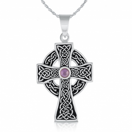 Amethyst Celtic Cross, Personalised, Sterling Silver