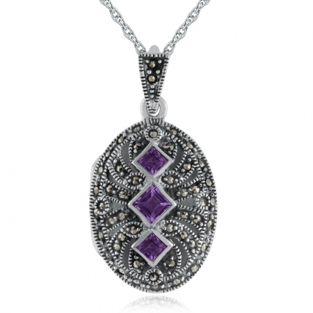 Amethyst, Marcasite Victorian Style Locket, Sterling Silver