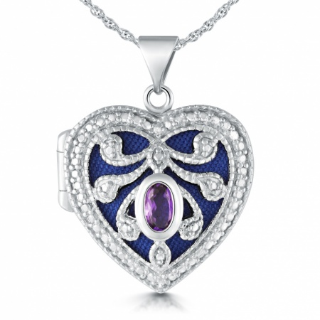 Amethyst Heart Locket, Personalised, Sterling Silver, Filigree