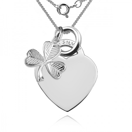 A Lucky Irish Heart Necklace Personalised, Sterling Silver