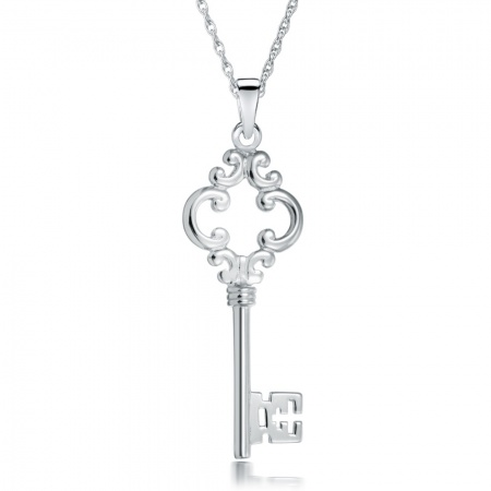 Antique Style Key Necklace, 925 Sterling Silver