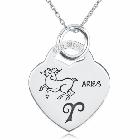 Aries Heart Shaped Sterling Silver Necklace (can be personalised)