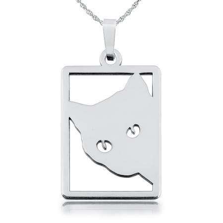 Art Deco Style Cat Necklace, Sterling Silver