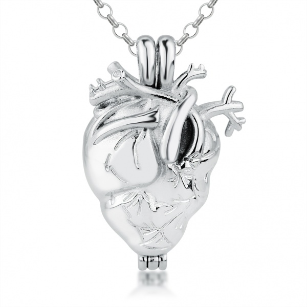 Anatomical Heart Necklace for Cremation Ashes, with Personalisation