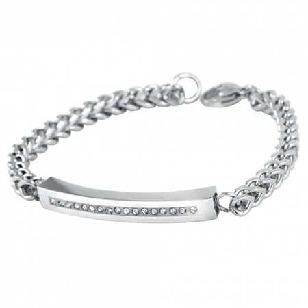 Mens Cremation Ashes Bracelets, Personalised, Stainless Steel & Cubic Zirconia