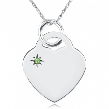 August Birthstone Heart Necklace, Personalised Engraving, Sterling Silver, Peridot