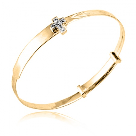 Babies Bangle 9ct Gold with Cubic Zirconia Cross (can be personalised)