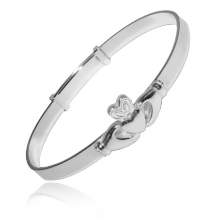 Babies Bangle with Claddagh Design Sterling Silver, Hallmarked