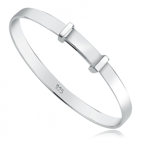 Carrs Plain Baby Bangle, 925 Sterling Silver, Personalised