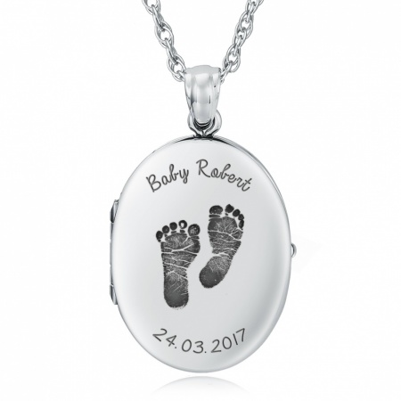 Baby Feet Locket, Personalised, Sterling Silver, Miscarriage