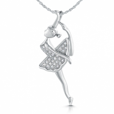 Ballerina Necklace, Cubic Zirconia & Sterling Silver