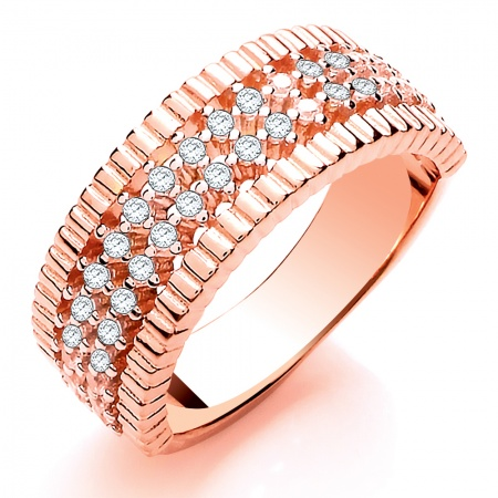 Bands of Love Rose Gold Ladies Ring - Sizes L - Q
