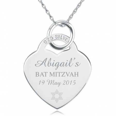 Bat Mitzvah Heart Necklace, Personalised, Sterling Silver