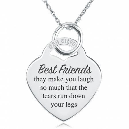 Best Friends Make You Laugh Necklace, Personalised, Sterling Silver