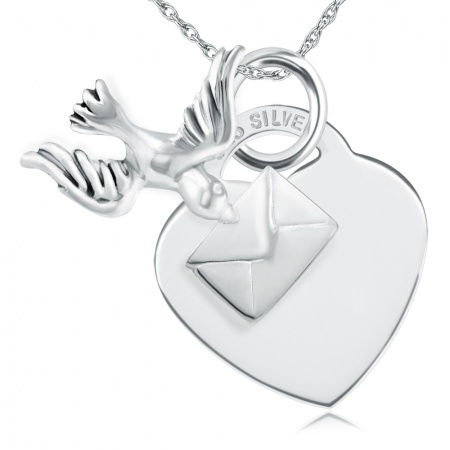 Bird Carrying a Love Letter Sterling Silver Heart Necklace (can be personalised)