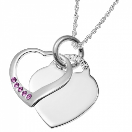 October Birthstone Sterling Silver Double Heart Necklace (can be personalised)