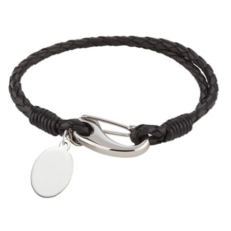 Ladies 7.75 inch Black Leather & Stainless Steel Bracelet (can be personalised)
