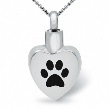 Paw Print, Pet Ashes Memorial Locket Necklace, Stainless Steel (can be personalised)