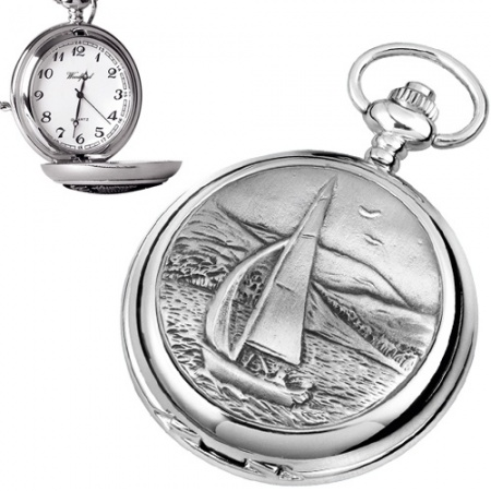 Sailing Boat Pewter Quartz Pocket Watch (can be personalised)
