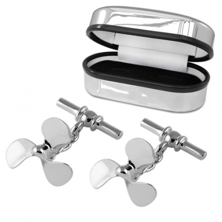 Boat Propellor Sterling Silver Cufflinks (can be personalised)