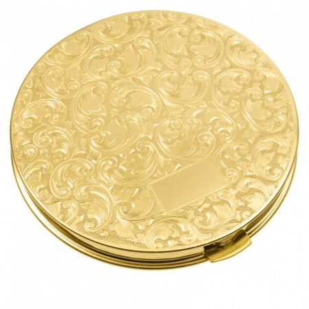 Brass Compact Mirror with Engraved Design (can be personalised)