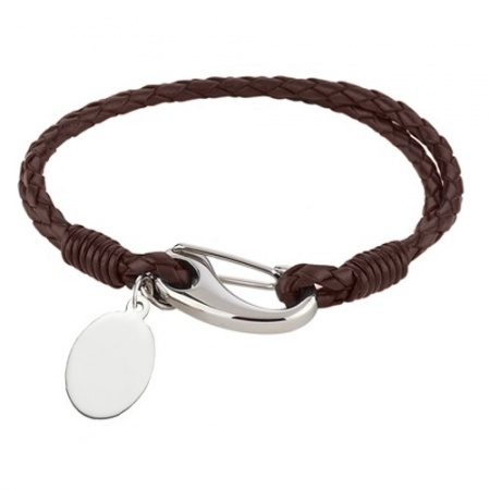 Ladies 7.75 inch Brown Leather & Stainless Steel Bracelet (can be personalised)