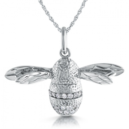 Bumble Bee Necklace, Sterling Silver & Cubic Zirconia