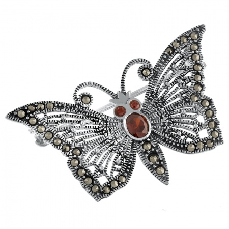 Marcasite, Sterling Silver, and Garnet Butterfly Brooch