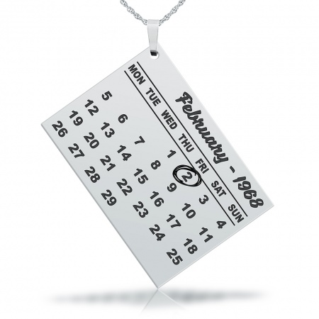 Calendar Necklace, Personalised with Date & Year, Sterling Silver