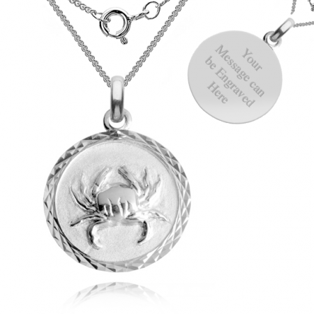 Cancer, Zodiac Necklace, Sterling Silver, Personalised