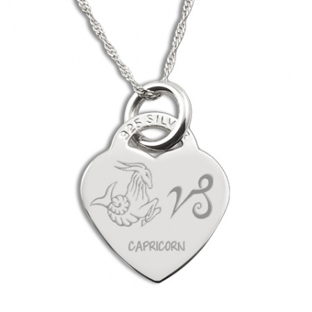 Capricorn Star Sign Necklace, Personalised, Sterling Silver