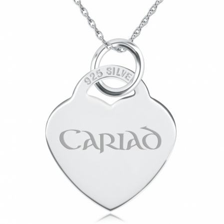 Cariad Heart Shaped Sterling Silver Necklace (can be personalised)