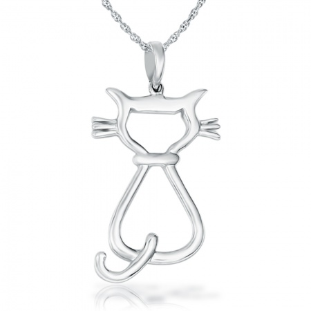 Cat Silhouette Necklace - 925 Sterling Silver