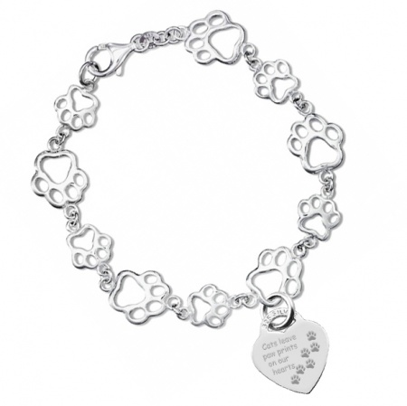 Cats Leave Paw Prints Bracelet, 925 Sterling Silver (can be personalised)