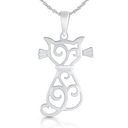 Celtic Cat Silhouette Necklace, Sterling Silver