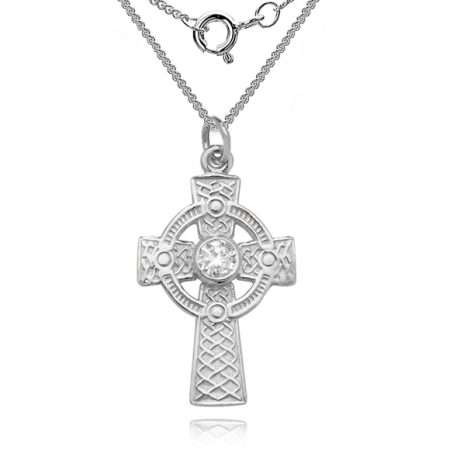 Celtic Cross Necklace, with Cubic Zirconia, Sterling Silver