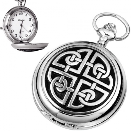 Traditional Celtic Knot Pewter Quartz Pocket Watch (can be personalised)