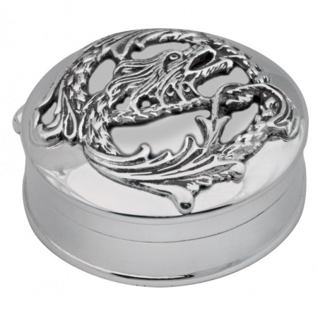 Celtic Dragon Pill Box, Hallmarked Sterling Silver (can be personalised)