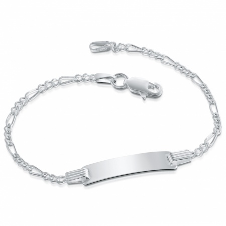 Childs ID Bracelet, Personalised, Sterling Silver Figaro Chain
