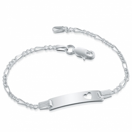 Children's Heart ID/Identity Bracelet, Personalised, Sterling Silver