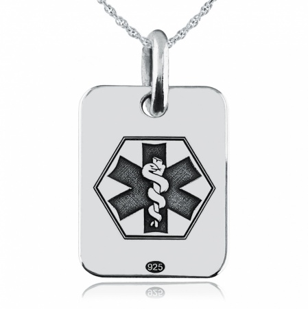 Child's Medical Alert Dog Tag, Personalised, Sterling Silver