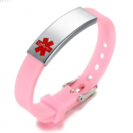 Children's Medical Alert Bracelet, with Personalisation, Pink Silicone