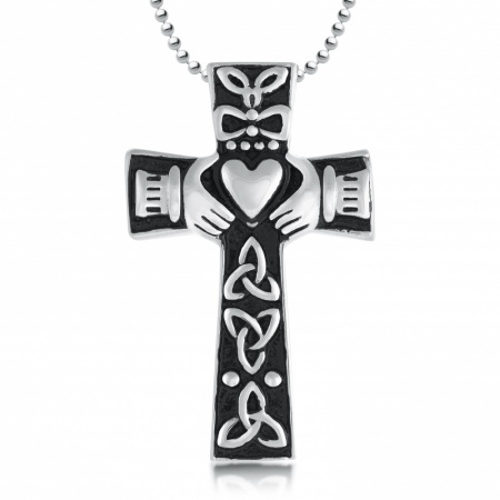 Claddagh Cross Ashes Necklace, Personalised, Stainless Steel