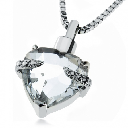 Ashes Necklace/Pendant, Personalised/Engraved, Clear Crystal
