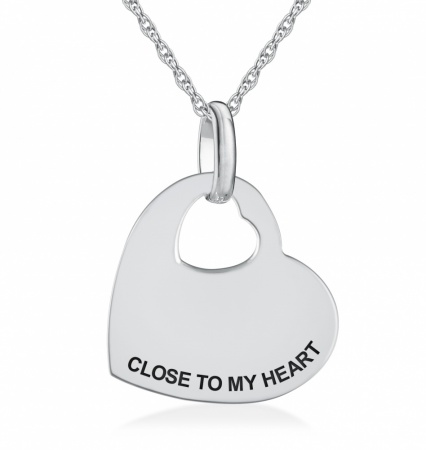 Close to my Heart Necklace, Personalised / Engraved, 925 Sterling Silver