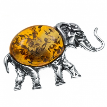 Cognac Amber & Sterling Silver Elephant Brooch