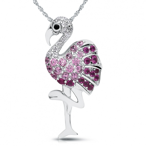 Flamingo Necklace, Colour Cubic Zirconia and Sterling Silver