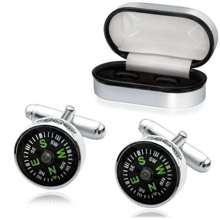 Compass Cufflinks, Sterling Silver, Personalised, Real Working
