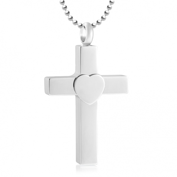 Ashes Cremation Cross Necklace, with Heart, Personalised