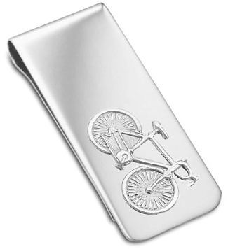 Cycling Money Clip, Sterling Silver Hallmarked (can be personalised)